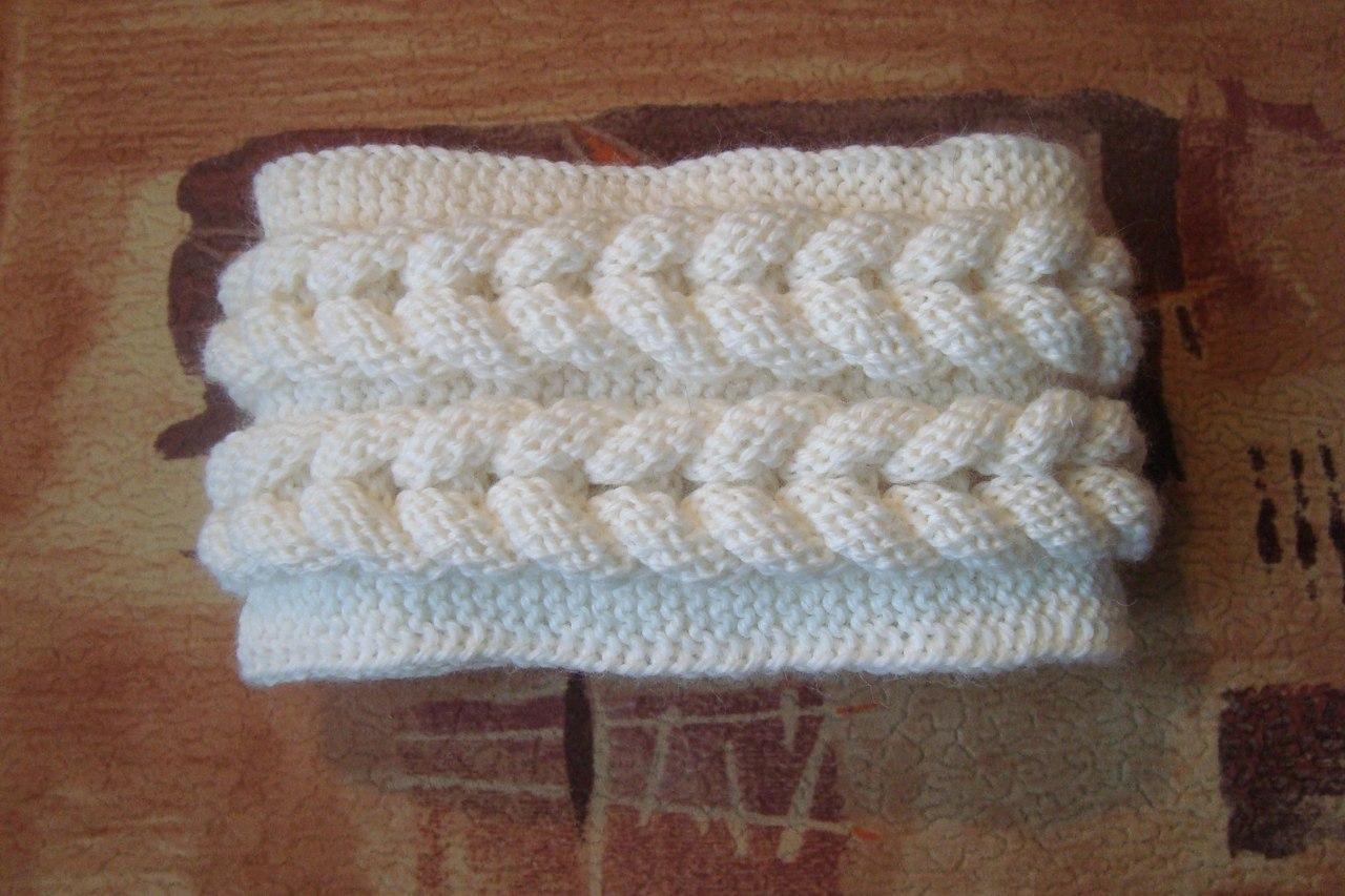 Вязание спицами кос на повязку